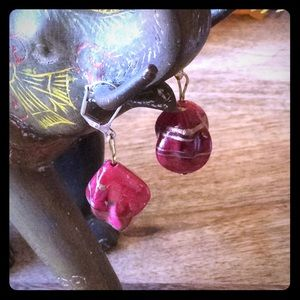Jewelry - Wine and Gold Stone Earrings